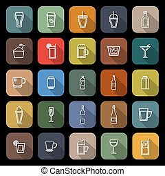 Beverage line flat icons with long shadow