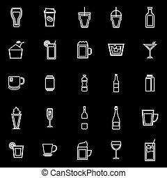 Beverage line icons on black background
