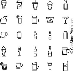 Beverage line icons on white background