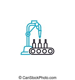 Beverage production linear icon concept. Beverage production line vector sign, symbol, illustration.