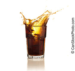 beverage splash into a glass on white background