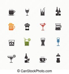 Beverage symbol icon set