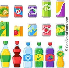 beverages., ジュース, エネルギー, 飲みなさい, fizzy, 光っていること, bottles., 水 ガラス, フルーツ, ベクトル, 飲料, ソーダ, アイコン, 寒い, ∥あるいは∥, 飲み物