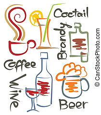 Beverages - a set of stylized images of different beverages,...