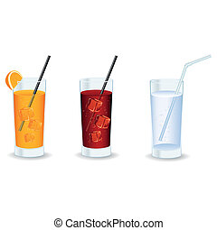 Beverages - abstract isolated beverages on a white ...