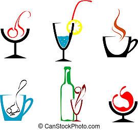 Beverages and drinks - Set of beverages and drinks symbols...