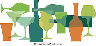 beverages, bottels and glasses in green colors-1 - colorful...