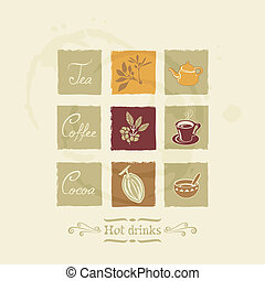 Beverages elements set - Beverages elements for tea, coffee ...