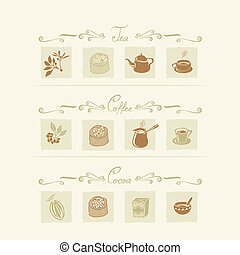 Beverages elements set with tea, coffee and cocoa