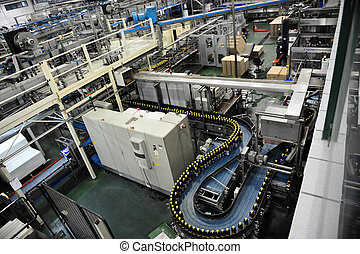 Beverages Factory - Equipment in beverages in a factory.