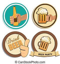 beverages - four different colored icons with beer and text
