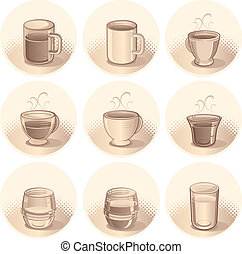 Beverages Icons - Sepia toned Illustration of Cups, Mug and...
