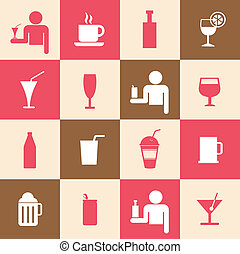 Beverages icons set