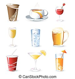Beverages - illustration of different beverges on isolated...