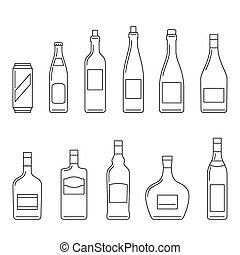 Beverages thin icons