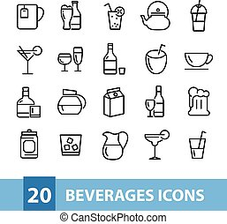 beverages vector icons collection