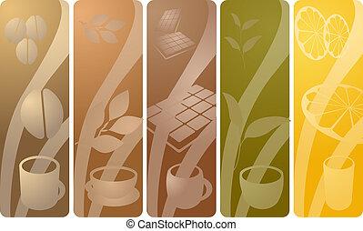 beverages_f - Panels depicting various beverages: coffee,...