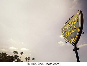 beverly heuvels, straatteken, met, groot, de ruimte van het exemplaar, gebied, voor, tekst