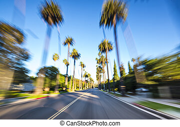 Beverly Hills - Beverly HIlls drive through with motion blur...