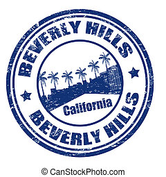 Grunge rubber stamp with the name of Beverly Hills city, California, vector illustration