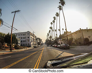 beverly, hollywood, straße, hügel, ansichten