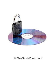 bevestigen, data:, cd/dvd, gesloten, door, hangslot