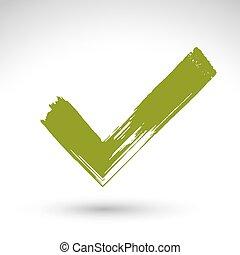 bevestiging, pictogram, symbool, vrijstaand, vectorized, hand, achtergrond., afgetaste, groene, borstel, getrokken, witte , checkmark, navigatie, tekening, hand-geverfd