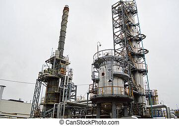 bevezetés, helyett, elemi, olaj, refining., olaj gáz, refinery., kémiai, plant.