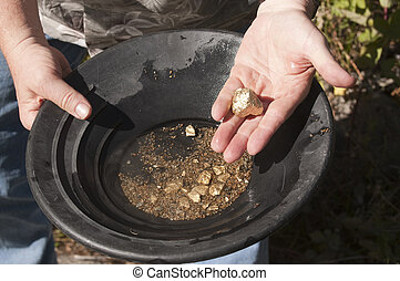 bevinding, goud, nuggets, man