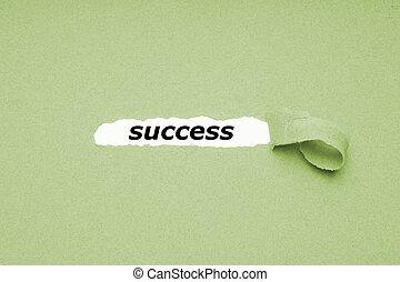 bevinding, succes, concept, -, gat, in, papier, achtergrond, het openbaren, verborgen, tekst