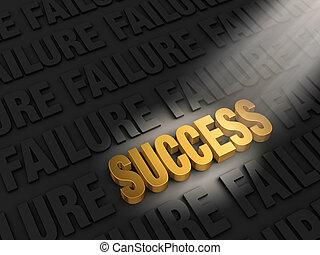 bevinding, succes, in, mislukking