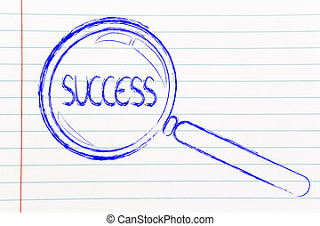 bevinding, succes, in, zakelijk, vergrootglas, ontwerp