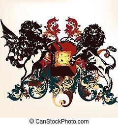 bevingat, heraldisk, design, skydda
