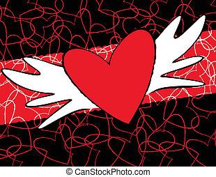 bevingat, hjärta, kylig