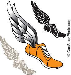bevinget, banen, sko