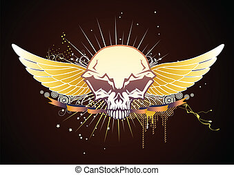bevinget, emblem, kranium
