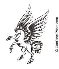 bevinget, gravering, hest, illustration