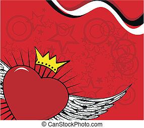 bevinget, hjerte, background4, stjerner