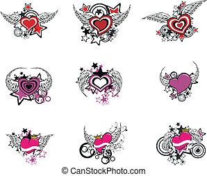 bevinget, hjerte, cartoon, set1