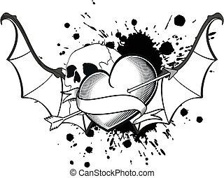 bevinget, hjerte, flagermus, tshirt9, tatovering