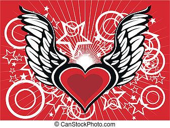 bevinget, hjerte, wallpaper2