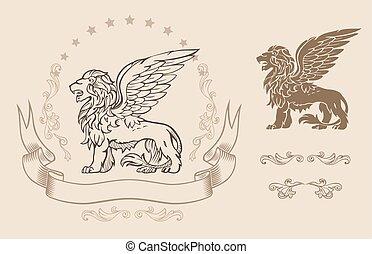bevinget, insignie, løve