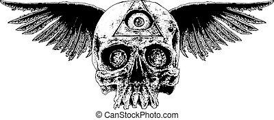 bevinget, kranium, illustration