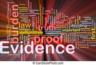 bevis, proof, baggrund, begreb, glødende