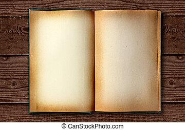 bevlekte, oud, werken boek, open, op, distessed, achtergrond