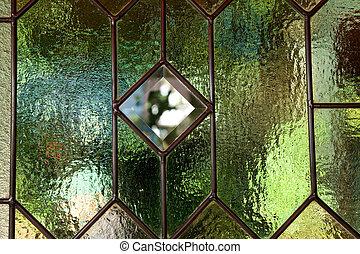 bevlekte, venster, glas