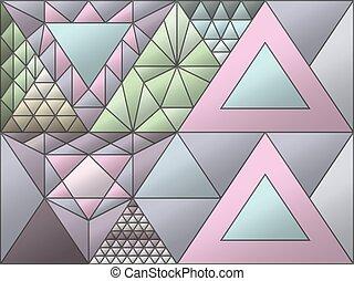 bevlekte, willekeurig, toevallig, glas, figuren, triangulation, venster