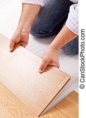 bevloering, laminaat, -, installeren, verbetering, thuis