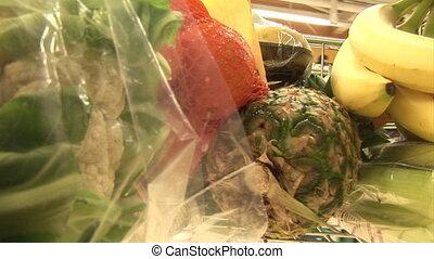 bevoorraden beeldmateriaal, van, grocery boodschapend doend
