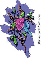 bevoorraden illustratie, blauwe vogel, en, roze, flower.eps